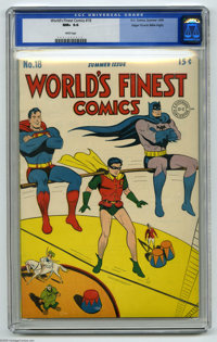 World's Finest Comics #18 Mile High pedigree (DC, 1945) CGC NM+ 9.6 White pages. A square bound book with a white cover...