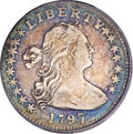 Early Half Dimes, 1797 H10C 16 Stars--Scratched, Cleaned--ANACS. VF20 Details...