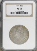 Bust Half Dollars, 1834 50C Large Date, Small Letters AU55 NGC. O-107, R.1. (#6165)...