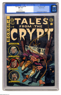 Tales From the Crypt #44 Gaines File pedigree 1/12 (EC, 1954) CGC NM+ 9.6 Off-white pages. This issue's guillotine cover...