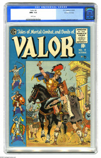 """Valor #4 Gaines File pedigree (EC, 1955) CGC NM+ 9.6 White pages. The """"New Direction"""" titles may have been ton..."""