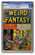 "Golden Age (1938-1955):Horror, Weird Fantasy #13 (#1) (EC, 1950) CGC VF 8.0 Light tan to off-whitepages. What a change it was when EC introduced ""a new tr..."