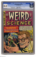 Golden Age (1938-1955):Science Fiction, Weird Science #12 (#1) (EC, 1950) CGC VF 8.0 Cream to off-whitepages. A memorable cover by Al Feldstein previewed a classic...