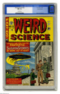 "Golden Age (1938-1955):Science Fiction, Weird Science #13 (#2) Gaines File pedigree (EC, 1952) CGC NM+ 9.6Off-white pages. Al Feldstein's memorable ""UFOs over Wash..."