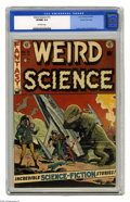 Golden Age (1938-1955):Science Fiction, Weird Science #15 Gaines File pedigree (EC, 1952) CGC VF/NM 9.0Off-white pages. A classic Wally Wood dinosaur cover highlig...