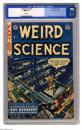 Golden Age (1938-1955):Science Fiction, Weird Science #20 Gaines File pedigree 9/11 (EC, 1953) CGC NM+ 9.6White pages. Even the more pleasant images on EC covers h...