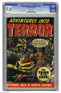 Golden Age (1938-1955):Horror, Adventures Into Terror #43 (#1) (Atlas, 1950) CGC FN/VF 7.0Off-white pages. Ace artist Russ Heath drew this issue's cover a...