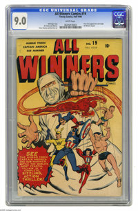 All Winners Comics #19 (Timely, 1946) CGC VF/NM 9.0 White pages. The classic cover by Syd Shores sets the tone for this...