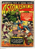 Golden Age (1938-1955):Science Fiction, Astonishing #4 (Atlas, 1951) Condition: VG+. Featuring Marvel Boy.Bill Everett cover and art. Off-white pages. One-inch spi...