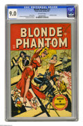"""Golden Age (1938-1955):Superhero, Blonde Phantom #13 (Timely, 1947) CGC VF/NM 9.0 Off-white pages. You can have the """"surgically enhanced"""" superheroines of tod..."""