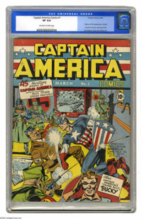 Captain America Comics #1 (Timely, 1941) CGC VF 8.0 Off-white to white pages. One of the best-known and most beloved com...