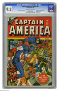 Golden Age (1938-1955):Superhero, Captain America Comics #61 (Timely, 1947) CGC NM- 9.2 Off-white to white pages. Syd Shores outdid himself with this snazzy R...