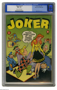 Joker Comics #6 Mile High pedigree (Timely, 1943) CGC NM+ 9.6 Off-white to white pages. We believe this to be the first...