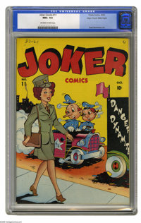 Joker Comics #11 Mile High pedigree (Timely, 1943) CGC NM+ 9.6 Off-white to white pages. Basil Wolverton contributed int...