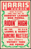 Movie Posters:Musical, Riding High/Dancing Masters/Victory Through Air Power & Others Lot (Harris Dubois, 1943). Locally Produced Window Cards (App... (Total: 3 Items)