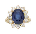 Estate Jewelry:Rings, Sapphire, Diamond, Gold Ring The ring features...