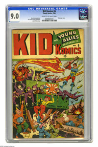 Kid Komics #6 (Timely, 1944) CGC VF/NM 9.0 Cream to off-white pages. This Alex Schomburg cover was a refreshing change f...