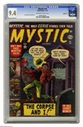 "Golden Age (1938-1955):Horror, Mystic #14 Bethlehem pedigree (Atlas, 1952) CGC NM 9.4 Off-white towhite pages. Great cover illustrating a story entitled ""..."