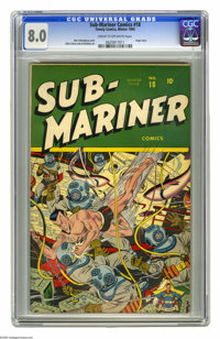Sub-Mariner Comics #18 (Timely, 1945) CGC VF 8.0 Cream to off-white pages. On this cool cover, artist Alex Schomburg tak...