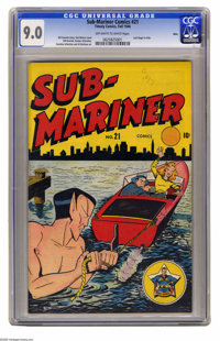 Sub-Mariner Comics #21 Ohio pedigree (Timely, 1946) CGC VF/NM 9.0 Off-white to white pages. Don't mess with the 'Mariner...