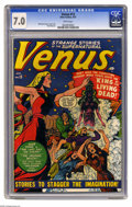 "Golden Age (1938-1955):Horror, Venus #13 (Atlas, 1951) CGC FN/VF 7.0 White pages. Though Venusbegan as a ""good girl""-type character, by this point in her ..."