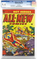 Golden Age (1938-1955):Superhero, All-New Comics #11 Mile High pedigree (Family Comics, 1945) CGC NM 9.4 White pages. Action abounds on this typical Alex Scho...