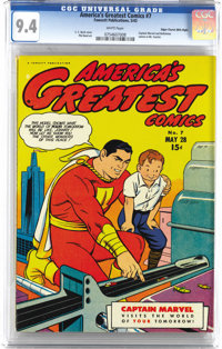 America's Greatest Comics #7 Mile High pedigree (Fawcett, 1943) CGC NM 9.4 White pages. This copy, featuring a C. C. Bec...