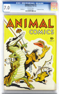 Golden Age (1938-1955):Funny Animal, Animal Comics #1 (Dell, 1942) CGC FN/VF 7.0 Off-white pages. Thefirst appearance of Pogo Possum by Walt Kelly is also the f...