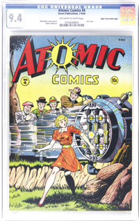 Atomic Comics #4 Mile High pedigree (Green Publishing Co., 1946) CGC NM 9.4 Off-white to white pages. Staring at the stu...