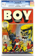Golden Age (1938-1955):Superhero, Boy Comics #9 Mile High pedigree (Lev Gleason, 1943) CGC NM- 9.2 White pages. The ominous cover featuring Iron Jaw (sporting...
