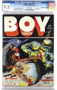 Boy Comics #10 Mile High pedigree (Lev Gleason, 1943) CGC NM- 9.2 White pages. The imminent return of Iron Jaw punctuate...