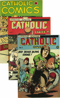 Catholic Comics #6-13 Group (Catholic Publications, 1946-47). College sports are the theme of all but two covers here, a...