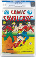 """Golden Age (1938-1955):Superhero, Comic Cavalcade #1 (DC, 1942) CGC VF 8.0 White pages. On this well-known wraparound cover, the race is on as Wonder Woman """"b..."""