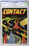 Golden Age (1938-1955):Science Fiction, Contact Comics #12 Mile High pedigree (Aviation Press, 1946) CGCVF/NM 9.0 White pages. L. B. Cole was the master of cover d...