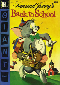 Dell Giant Comics Tom and Jerry Back To School #1 File Copy (Dell, 1956) Condition: NM. Painted cover. Overstreet 2006 N...