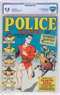 Police Comics #13 Mile High Pedigree (Quality, 1942) CBCS NM/MT 9.8 White pages