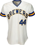 Baseball Collectibles:Uniforms, 1976 Hank Aaron Game Worn Milwaukee Brewers Jersey. ...