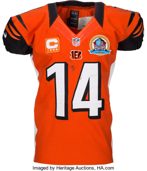 Game Jersey 51255 Auctions 2012 Cincinnati Worn Dalton Unwashed Heritage - Bengals Lot Andy