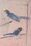 Post-War & Contemporary:Contemporary, Hunt Slonem (b. 1951). Blue Magpies, 1989. Oil on panel.38-1/4 x 25-1/2 inches (97.2 x 64.8 cm). Signed, titled, and da...