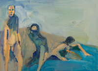 William Theophilus Brown (1919-2012) Bathers, 1958 Oil on canvas laid on panel 12 x 15-3/4 inches