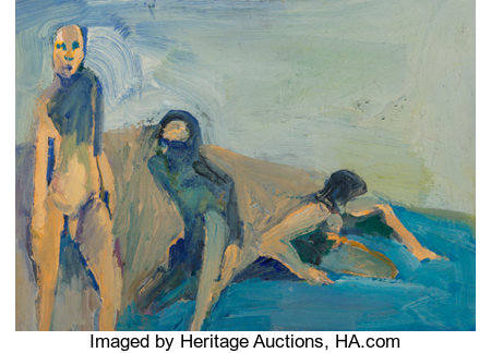 William Theophilus Brown (1919-2012)Bathers, 1958Oil on canvas laid on panel12 x 15-3/4 inches (30.5 x 40.0 cm)S...