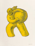 Fine Art - Work on Paper:Drawing, Tom Otterness (b. 1952). Untitled (Female), 1983. Oil stickand pencil on paper. 24-3/4 x 19 inches (62.9 x 48.3 cm) (sh...