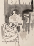 Fine Art - Work on Paper:Watercolor, David Park (1911-1960). Study for Interior, 1957. Watercoloron paper. 11 x 8-1/2 inches (27.9 x 21.6 cm) (sheet). Inscr...