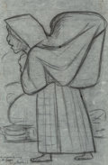 Fine Art - Work on Paper:Drawing, Diego Rivera (1886-1957). Untitled (Woman), 1943. Pencil onpaper. 15-1/4 x 10-7/8 inches (38.7 x 27.6 cm) (sheet). Sign...