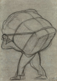 Diego Rivera (1886-1957) Untitled (Man with bale on his back), 1943 Pencil on paper 15-1/2 x 11 i