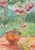 Works on Paper, Janet Fish (b. 1938). Rain, Toy Bird, and Strawberries, 1989. Watercolor on paper. 41-3/4 x 29-1/4 inches (106.0 x 74.3 ...