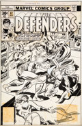 Original Comic Art:Covers, Ed Hannigan and Joe Sinnott Defenders #47 Cover Moon Knight and Wonder Man Original Art (Marvel, 1977)....