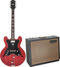 Musical Instruments:Electric Guitars, 1963 Epiphone Professional Cherry Semi-Hollow Body Electric Guitarand Amplifier, Serial # 101937 & 555016.... (Total: 2 )