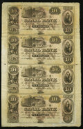 Obsoletes By State:Louisiana, New Orleans, LA- New Orleans Canal & Banking Company $10-$10-$10-$10 18__ Uncut Sheet. ...