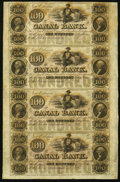 Obsoletes By State:Louisiana, New Orleans, LA- New Orleans Canal & Banking Company $100-$100-$100-$100 18__ Uncut Sheet. ...